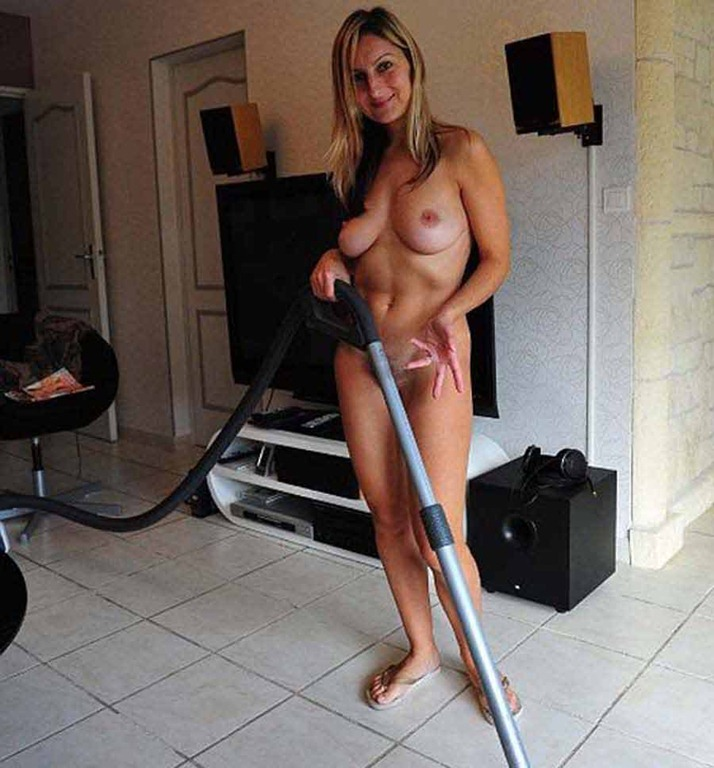 Nude housewives cleaning house