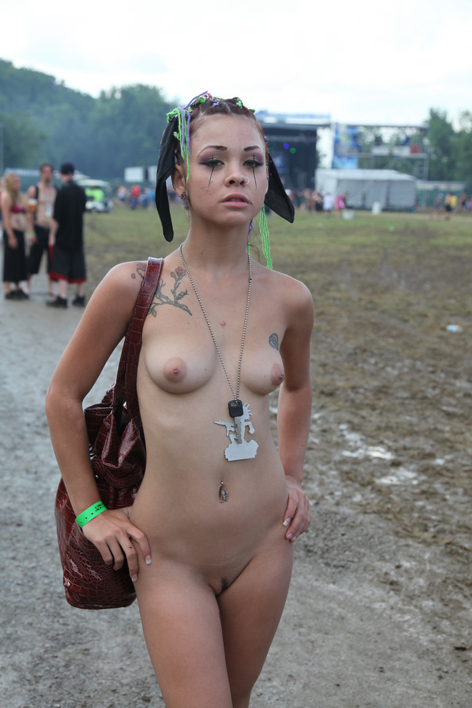 Tattooed alternative punks public flashing and outdoor exhib 9
