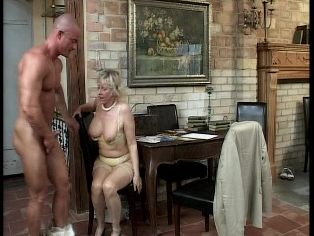 old ladie porn lady older watch younger man play grass around