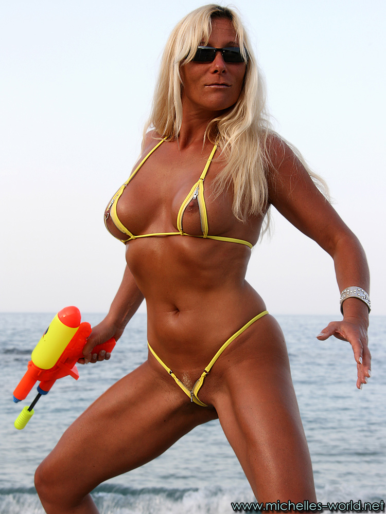 Dare bikini girl hits micro dripping bikini