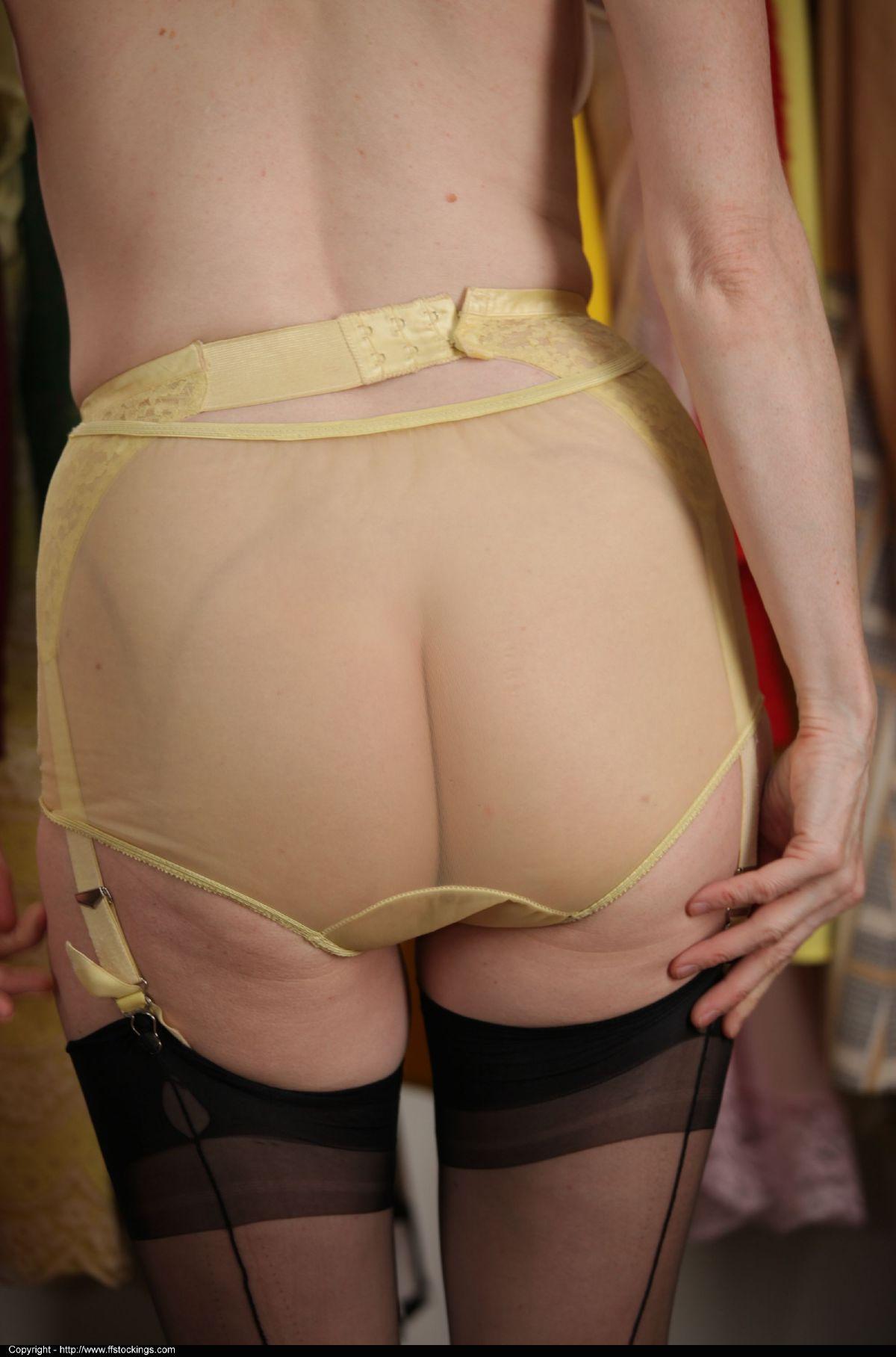 Belt garter stocking upskirt