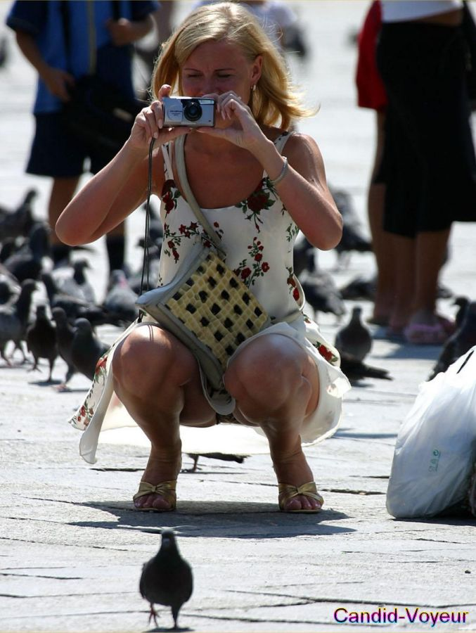 В этот раз наши фотографы заглядывали под юбки сучек и смотрели на их труси