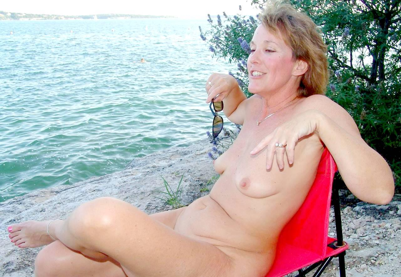 mom Naked lake mature fun