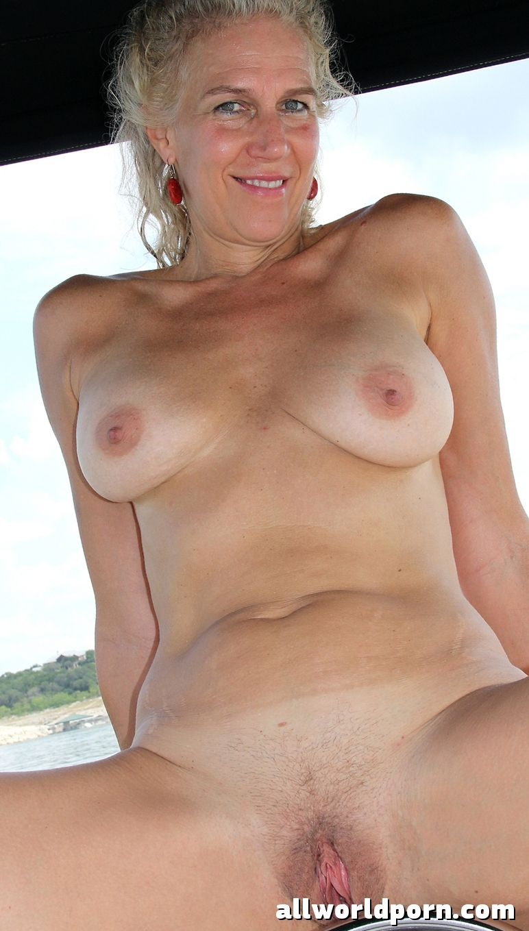 Topless old woman
