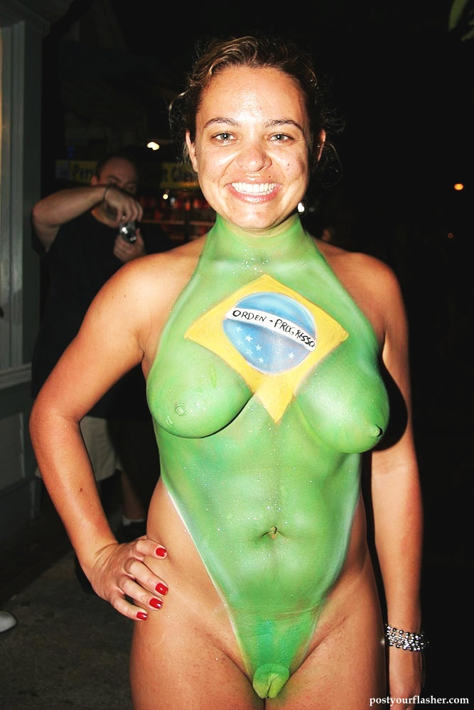 With Nude body paint women in key west can