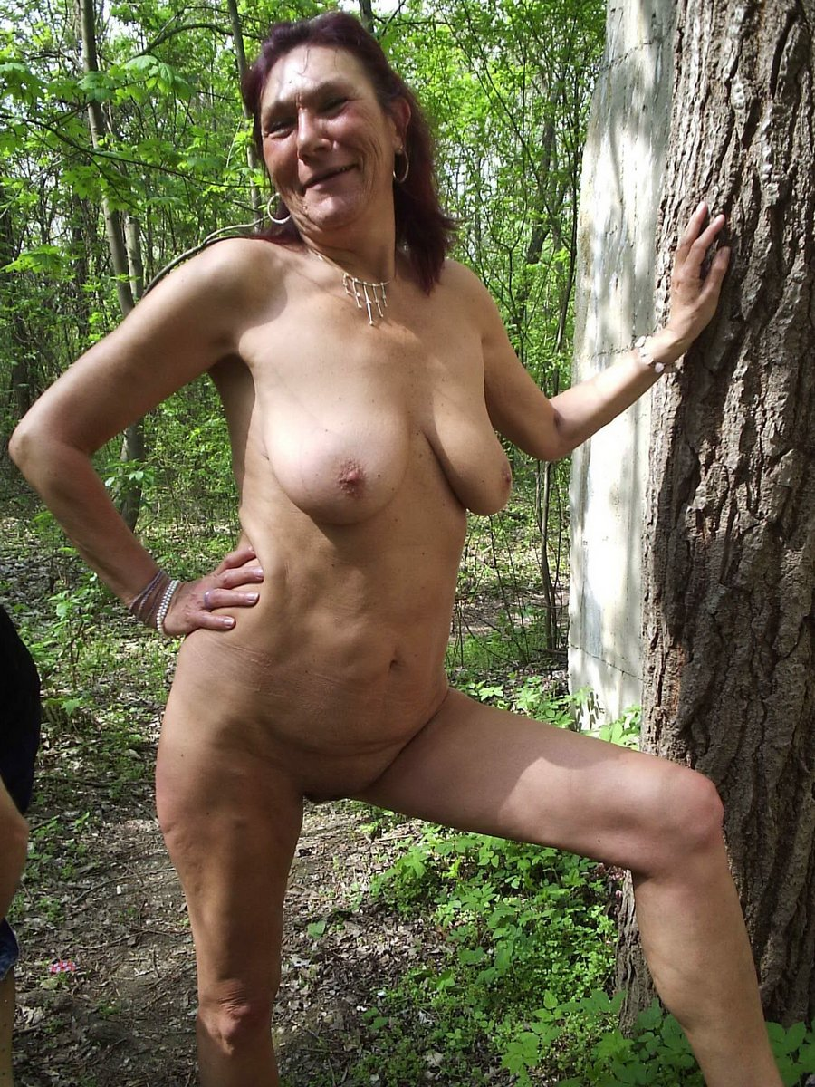 Older women naked outside