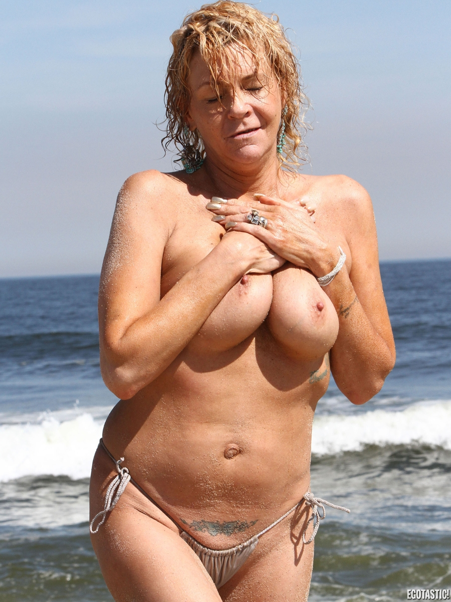 Mature topless beach photo not