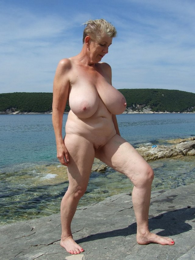 Nude beach old lady well