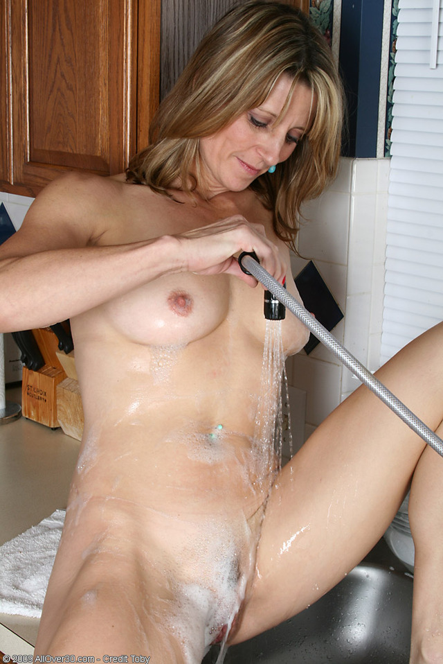 housewife in mature porn mature milf blonde housewife wearing only mommy foam soap