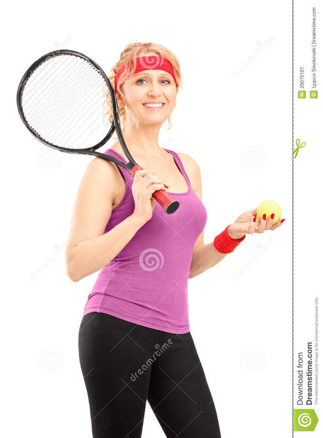 mature female porn mature female ball player isolated tennis holding racket