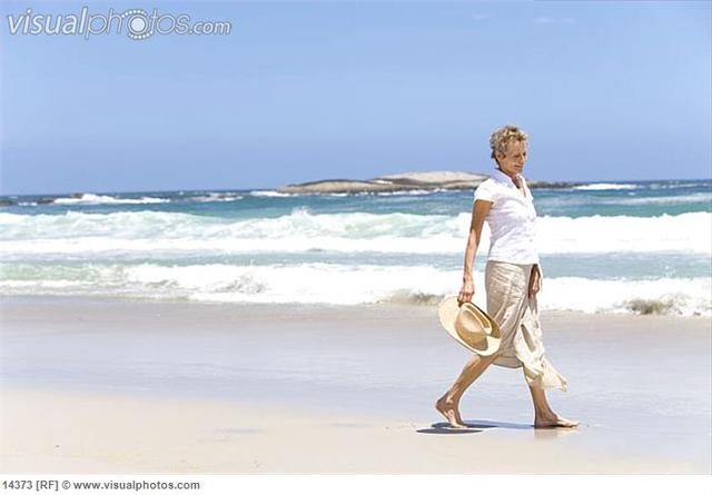 mature beach porn pictures mature woman photo hat beach walking