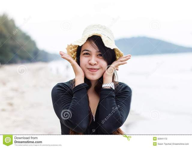 mature close up mature woman beach lovely close beautiful smile thai stock photography