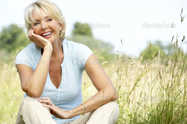 mature image mature woman photo sitting countryside depositphotos portrait stock