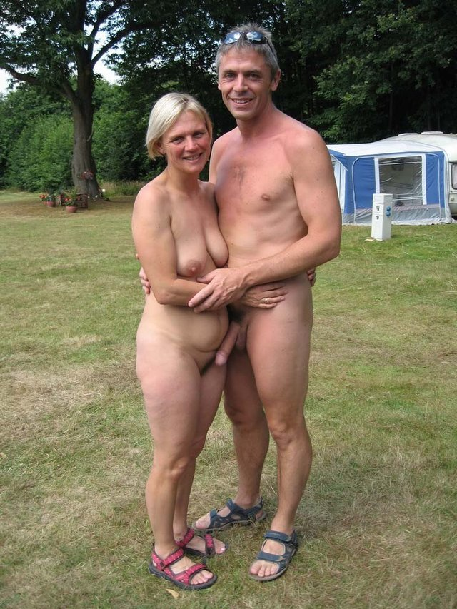 Mature nude couple at the beach congratulate, what