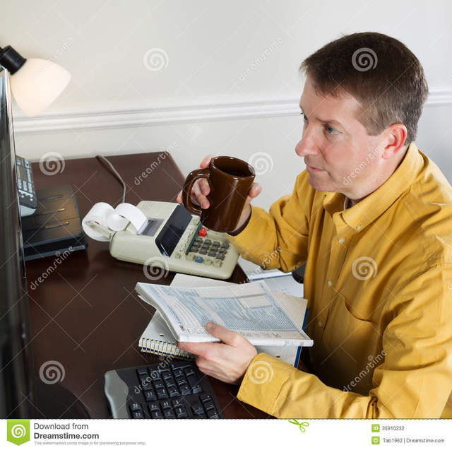 mature office porn pics mature women photo man home from cup doing looking office data his working stock drinking computer coffee holding taxes income monitor