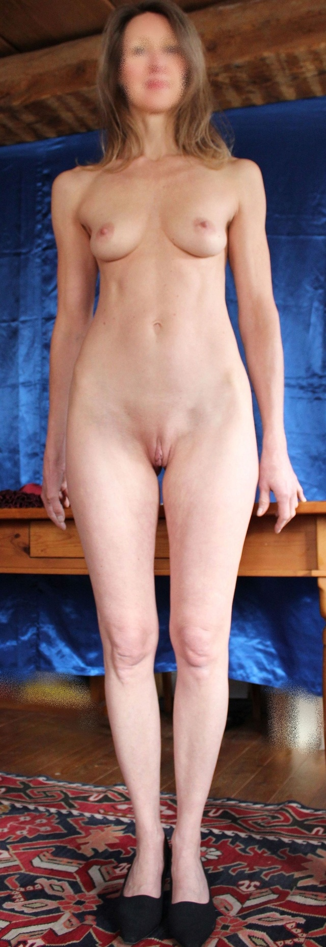 nude standing with dildo