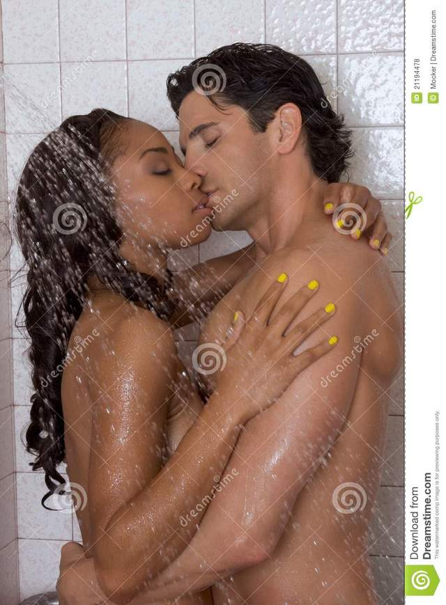 man and a woman sex in shower