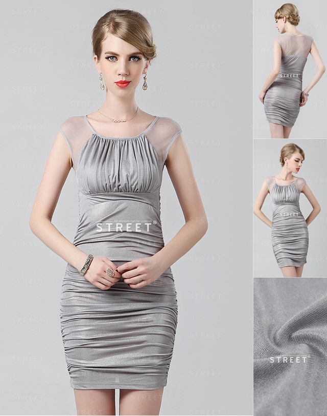 mature party mature party sexy long plus neck dress grey size cocktail scoop productimg ruched lcfs merge
