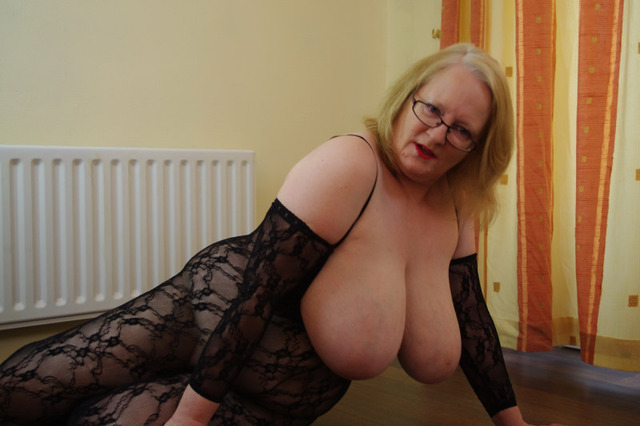 mature sally black body stocking lacey