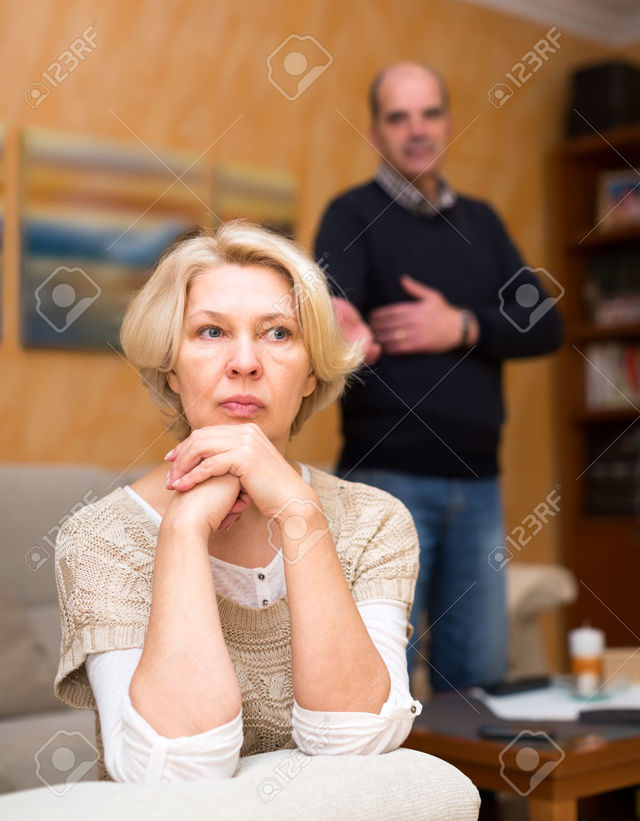 wife mature mature old couple wife photo having sitting from away are turned husband stock jackf quarrel pensioners