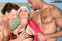 lady mature porn sandwiched granny gets interracial bang
