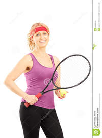 mature female porn mature female tennis player holding racket ball isolated against white background