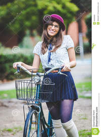 old picture porn woman old fashioned woman park bicycle stock photo