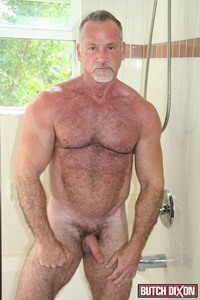 older mature porn star butch dixon silver haired hunk older mature stud mickie collins flexes muscles rubs furry tanned skin male tube red gallery photo