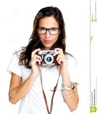 older picture porn white woman pretty young female holding old camera white lovely woman wearing glasses against