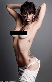 older porn skinny woman tvshowbiz lady gaga magazine shows ribcage bones protrude photo shoot