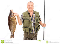 big pics mature mature fisherman holding fish fishing rod isolated white background stock photo