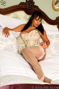 centerfold gallery porn star stocking danica corset white stockings playing dildo