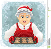 granny pics granny baked some cookies vector illustration happy holding freshly tray type eps compatible stock photo funny cartoon old grandma