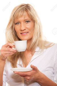 hot mature pictures akz people happiness drink food concept mature woman drinking tea coffee cup hot beverage whit stock photo