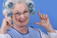 amateur old woman porn media original granny hair rollers stock photo