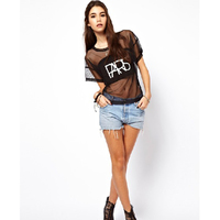 hot sexy matures htb xxfxxxs hot sale retro women short sleeve gauze punk shirt sexy see through crop store product