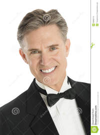 mature close up close portrait happy man tuxedo mature isolated white background stock