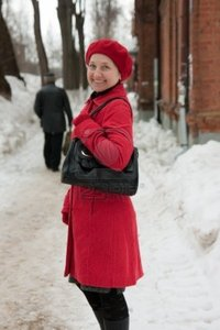 mature lady photos wintry elegant mature lady walking around town photo