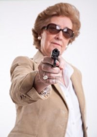 mature lady photos franckito mature lady sunglasses gun hand photo