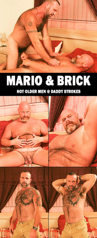 mature older men porn collages daddystrokes mario brick servicing sexy bald daddy bear