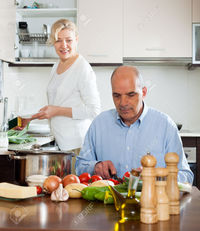 mature wife pic jackf elderly senior mature wife doing home chores domestic kitchen stock photo
