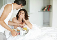 mature wife picture mature man serving breakfast his wife bed home