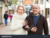 mature wife pix stock photo mature husband blonde wife having walk together outdoors pic