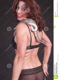 mature women photo woman snake mature lingerie snakes shoulder royalty free stock photography