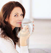 middle age mature porn portrait happy woman drinking coffee stock mature cup
