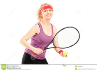 middle age mature porn middle aged female holding tennis racket ball isolated white background mature player