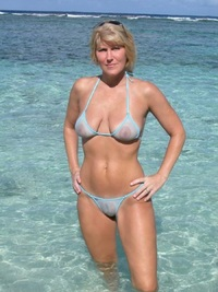 milf pic blonde beach milf sheer powder blue bikini page