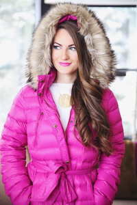 mom undressed pics pink coat sorel boots winter outfit inspiration southern curls pearls snow day
