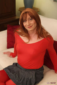 moms sex efda redhead wearing sexy red leather