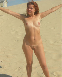 naked milf photos totally naked milf standing middle hot sunny beach
